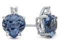 10k White Gold 7mm Heart Shaped Swiss Blue Topaz with White Topaz Earrings