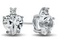 10k White Gold 7mm Heart Shaped White Topaz Earrings