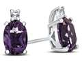 10k White Gold 7x5mm Oval Amethyst with White Topaz Earrings