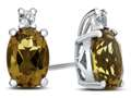 10k White Gold 7x5mm Oval Citrine with White Topaz Earrings