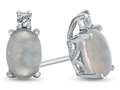 10k White Gold 7x5mm Oval Created Opal with White Topaz Earrings