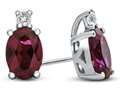 10k White Gold 7x5mm Oval Created Ruby with White Topaz Earrings
