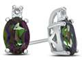 10k White Gold 7x5mm Oval Mystic Topaz with White Topaz Earrings