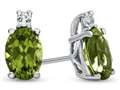 10k White Gold 7x5mm Oval Peridot with White Topaz Earrings