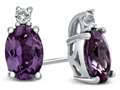 10k White Gold 7x5mm Oval Simulated Alexandrite with White Topaz Earrings