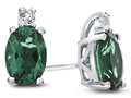 10k White Gold 7x5mm Oval Simulated Emerald with White Topaz Earrings