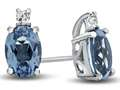 10k White Gold 7x5mm Oval Swiss Blue Topaz with White Topaz Earrings