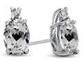 Finejewelers 10k White Gold 7x5mm Oval White Topaz Earrings
