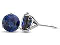 Finejewelers 10k White Gold 3-Pronged Martini 7mm Round Created Blue Sapphire Stud Earrings