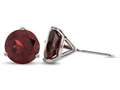 Finejewelers 10k White Gold 3-Pronged 7mm Round Garnet Post-With-Friction-Back Stud Earrings