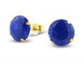 Finejewelers 10k Yellow Gold 8.00 cttw 10mm Round Created Blue Sapphire Stud Earrings