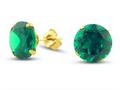 Finejewelers 10k Yellow Gold 10mm Round Simulated Emerald Stud Earrings