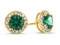 14kt Yellow Gold 6mm Round Simulated Emerald with White Topaz accent stones Halo Earrings