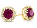 Finejewelers 14k Yellow Gold 6mm Round Created Ruby with White Topaz accent stones Halo Earrings