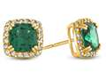 14kt Yellow Gold 6mm Cushion Simulated Emerald with White Topaz accent stones Halo Earrings