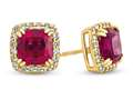 Finejewelers 10k Yellow Gold 6mm Cushion Created Ruby with White Topaz accent stones Halo Earrings