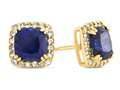 14kt Yellow Gold 6mm Cushion Created Sapphire with White Topaz accent stones Halo Earrings