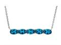 Finejewelers Sterling Silver Necklace Pendant with 5 Oval London Blue Topaz Stones