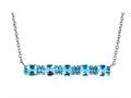 Finejewelers Sterling Silver Necklace Pendant with 5 Oval Swiss Blue Topaz Stones