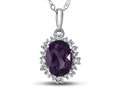 10kt White Gold Oval Amethyst with White Topaz accent stones Halo Pendant Necklace