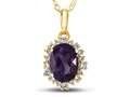 10kt Yellow Gold Oval Amethyst with White Topaz accent stones Halo Pendant Necklace