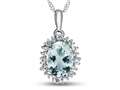 10kt White Gold Oval Aquamarine with White Topaz accent stones Halo Pendant Necklace