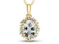 10kt Yellow Gold Oval Aquamarine with White Topaz accent stones Halo Pendant Necklace