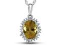 10kt White Gold Oval Citrine with White Topaz accent stones Halo Pendant Necklace