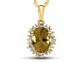 10kt Yellow Gold Oval Citrine with White Topaz accent stones Halo Pendant Necklace