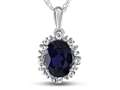 10kt White Gold Oval Created Sapphire with White Topaz accent stones Halo Pendant Necklace