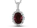 10kt White Gold Oval Created Ruby with White Topaz accent stones Halo Pendant Necklace