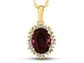 10kt Yellow Gold Oval Created Ruby with White Topaz accent stones Halo Pendant Necklace