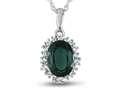 10kt White Gold Oval Created Emerald with White Topaz accent stones Halo Pendant Necklace