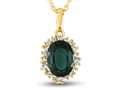 10kt Yellow Gold Oval Created Emerald with White Topaz accent stones Halo Pendant Necklace