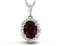 10kt White Gold Oval Garnet with White Topaz accent stones Halo Pendant Necklace