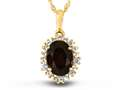 10kt Yellow Gold Oval Garnet with White Topaz accent stones Halo Pendant Necklace
