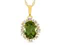 10kt Yellow Gold Oval Peridot with White Topaz accent stones Halo Pendant Necklace