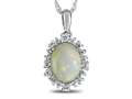 10kt White Gold Oval Opal with White Topaz accent stones Halo Pendant Necklace