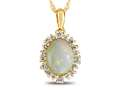 10kt Yellow Gold Oval Opal with White Topaz accent stones Halo Pendant Necklace