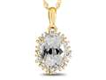 10kt Yellow Gold Oval White Topaz with White Topaz accent stones Halo Pendant Necklace