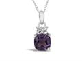 Finejewelers 10k White Gold 7mm Cushion-Cut Amethyst Pendant Necklace