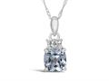 Finejewelers 10k White Gold 7mm Cushion-Cut Aquamarine Pendant Necklace