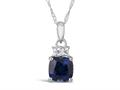 Finejewelers 10k White Gold 7mm Cushion-Cut Created Blue Sapphire with White Topaz Pendant Necklace