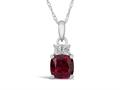 Finejewelers 10k White Gold 7mm Cushion-Cut Created Ruby Pendant Necklace