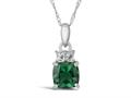 Finejewelers 10k White Gold 7mm Cushion-Cut Created Emerald Pendant Necklace
