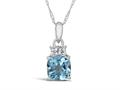Finejewelers 10k White Gold 7mm Cushion-Cut Swiss Blue Topaz Pendant Necklace