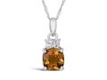 Finejewelers 10k White Gold 7mm Cushion-Cut Citrine with White Topaz Accents Pendant Necklace