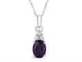 Finejewelers 10k White Gold 8x6mm Oval Amethyst Pendant Necklace