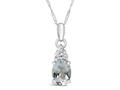 Finejewelers 10k White Gold 8x6mm Oval Aquamarine Pendant Necklace