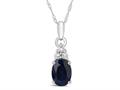 Finejewelers 10k White Gold 8x6mm Oval Created Blue Sapphire Pendant Necklace